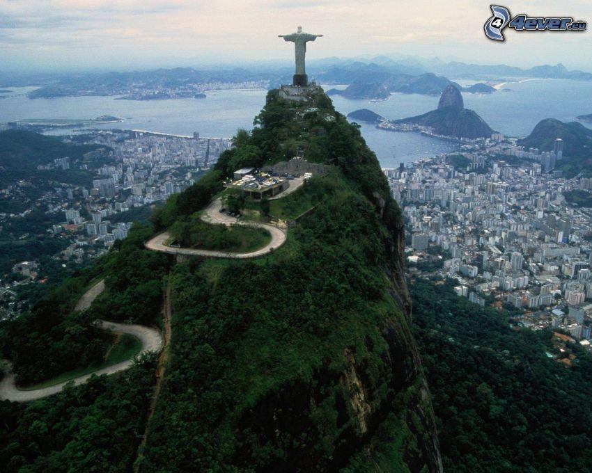 Jesus in Rio de Janeiro, sea, Rio De Janeiro, view of the city
