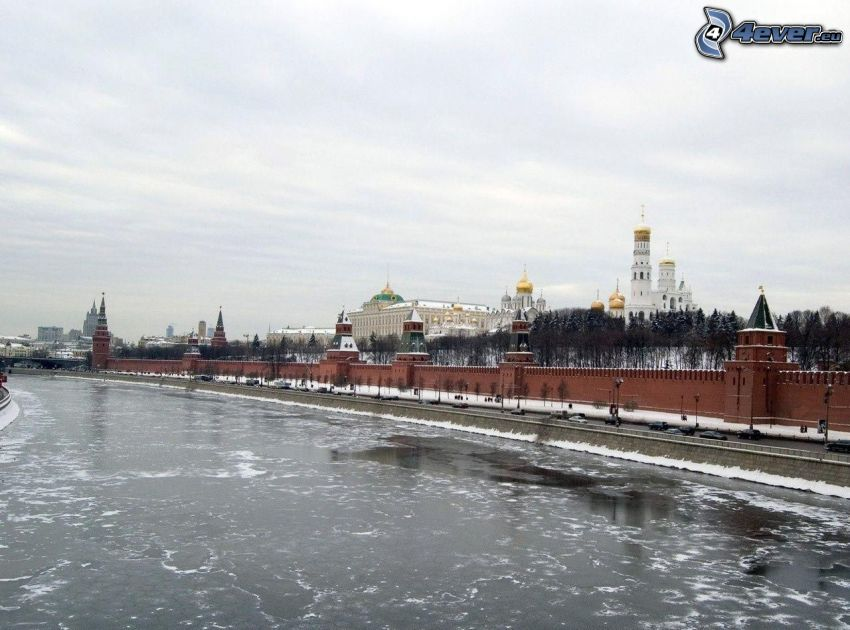 Kremlin, Moscow, Russia, River, snow