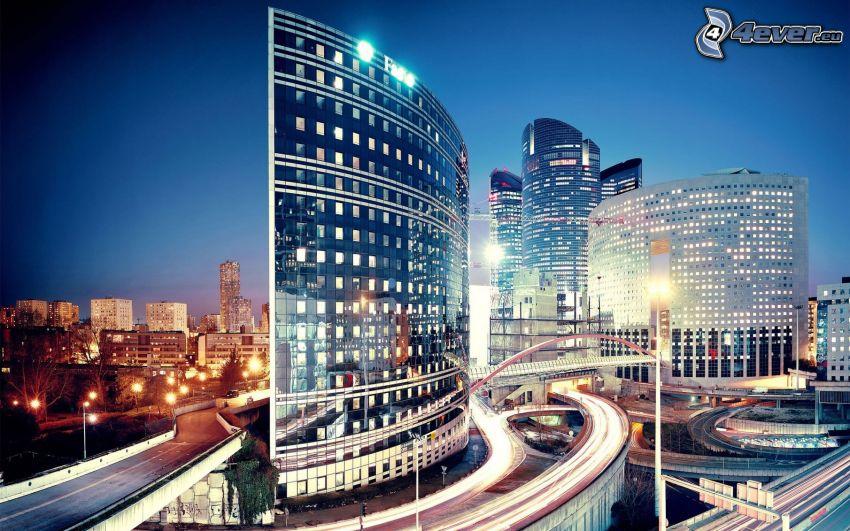 La Défense, skyscrapers, evening city, Interchange, Paris