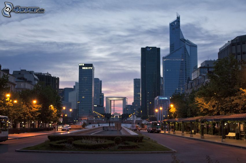 La Défense, skyscrapers, evening city, road, Paris
