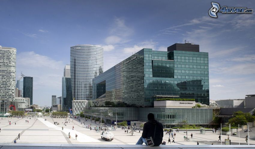 La Défense, skyscrapers, square, Paris