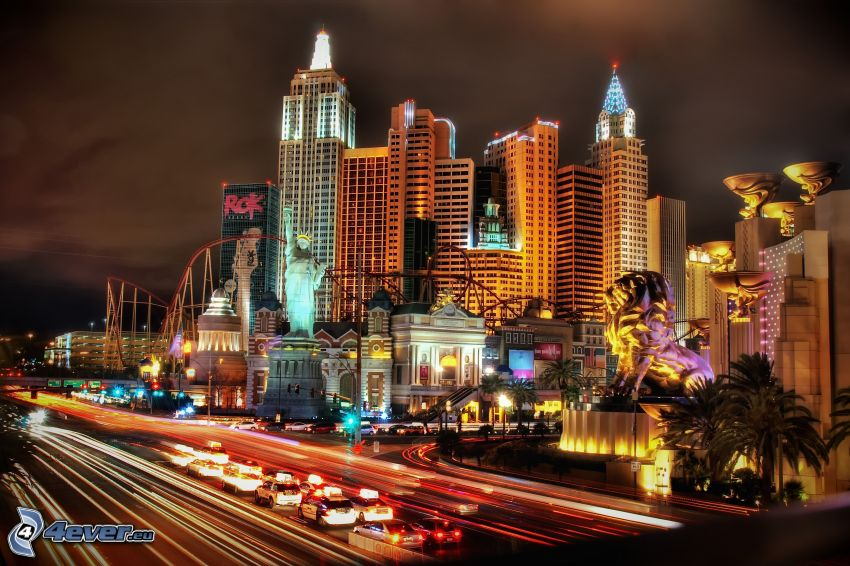 Las Vegas, night city, night highway, transportation, traffic jam
