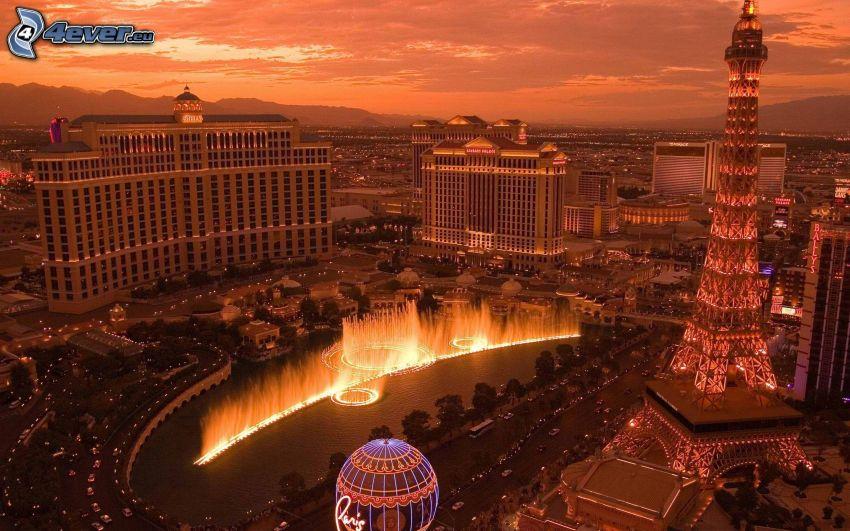 Las Vegas, USA, Eiffel Tower, buildings