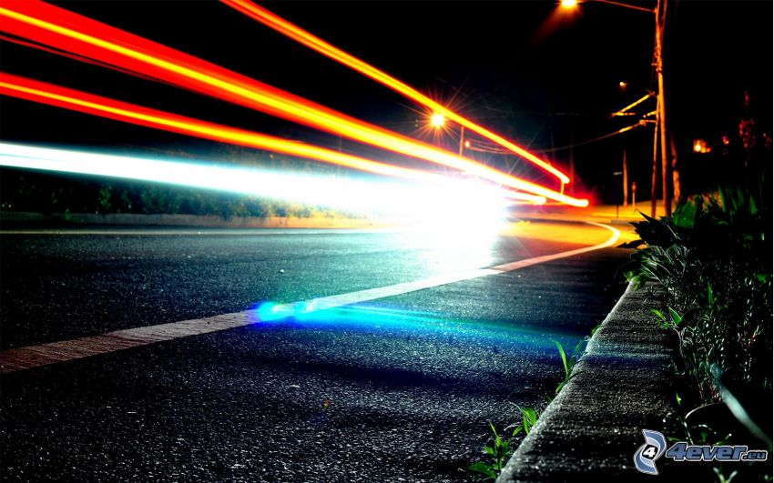 lights, road, night, street lights