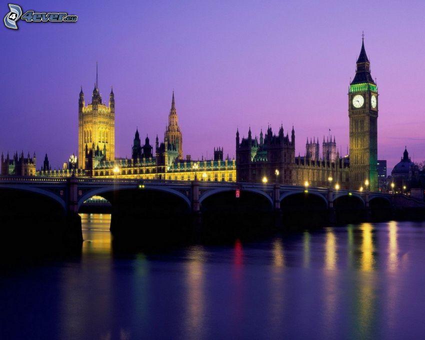 London, evening city, Big Ben