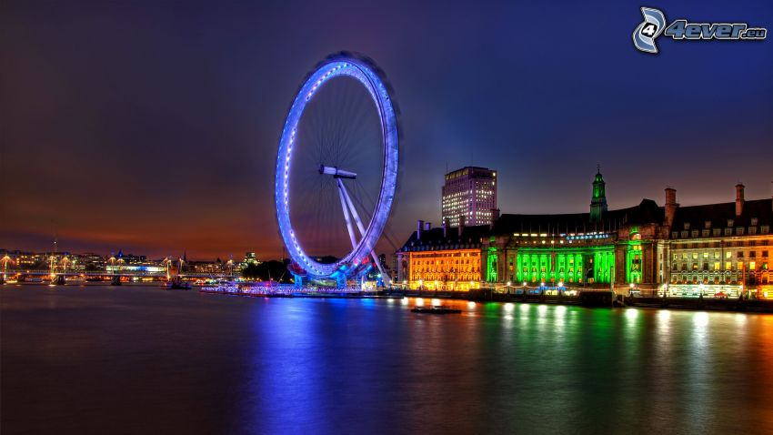London Eye, London, night, Thames