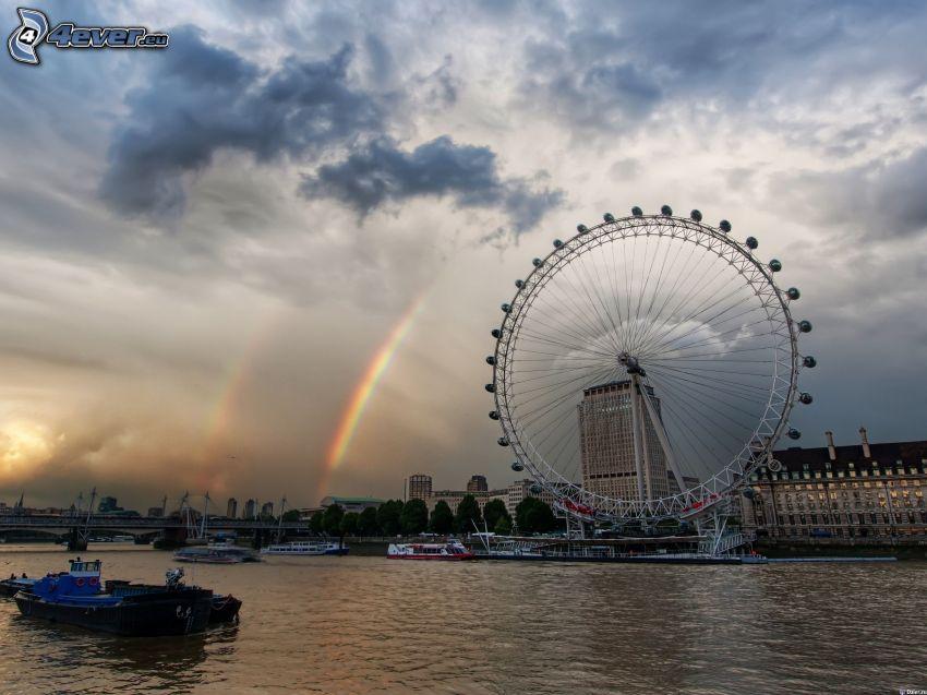 London Eye, London, rainbow, Thames