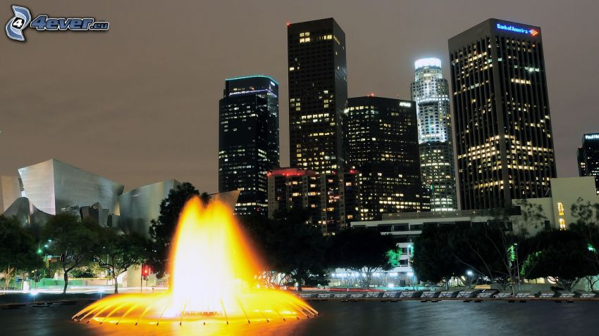 Los Angeles, fountain, skyscrapers, night