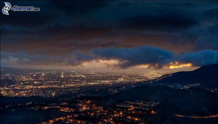 Los Angeles, night city, clouds
