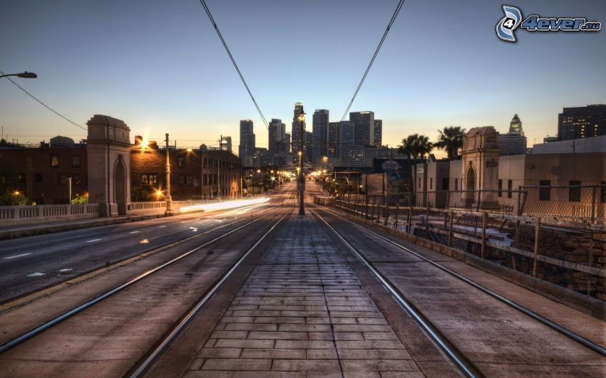 Los Angeles, tramway track, skyscrapers