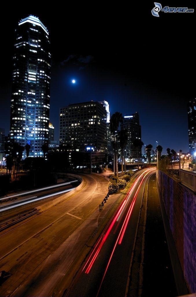 Los Angeles downtown, night city, transportation, skyscraper