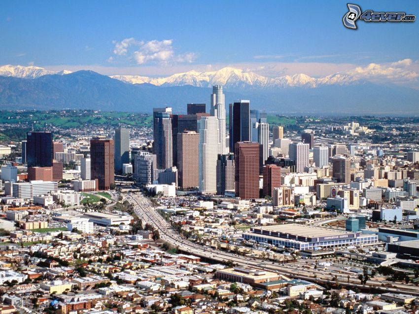 Los Angeles downtown, skyscrapers, highway, mountains