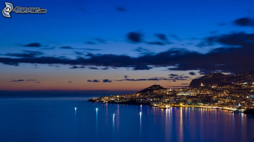 Madeira, seaside town, sea, evening city