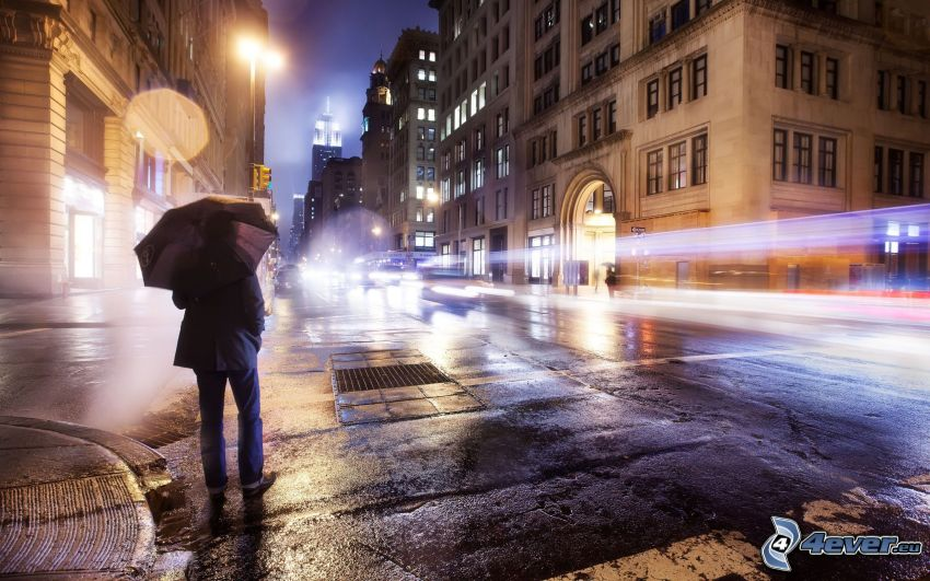 man with umbrella, street, night city