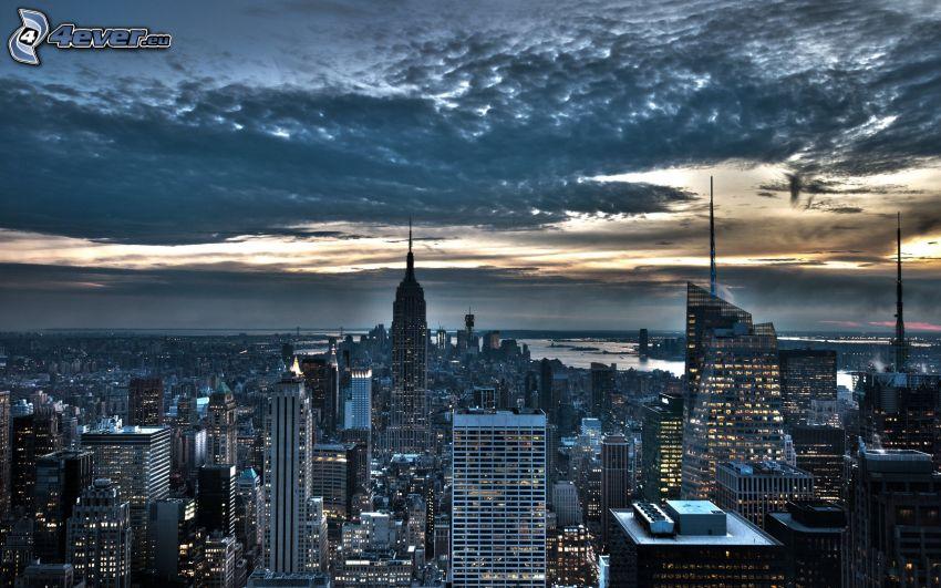 Manhattan, Empire State Building, evening city, sky