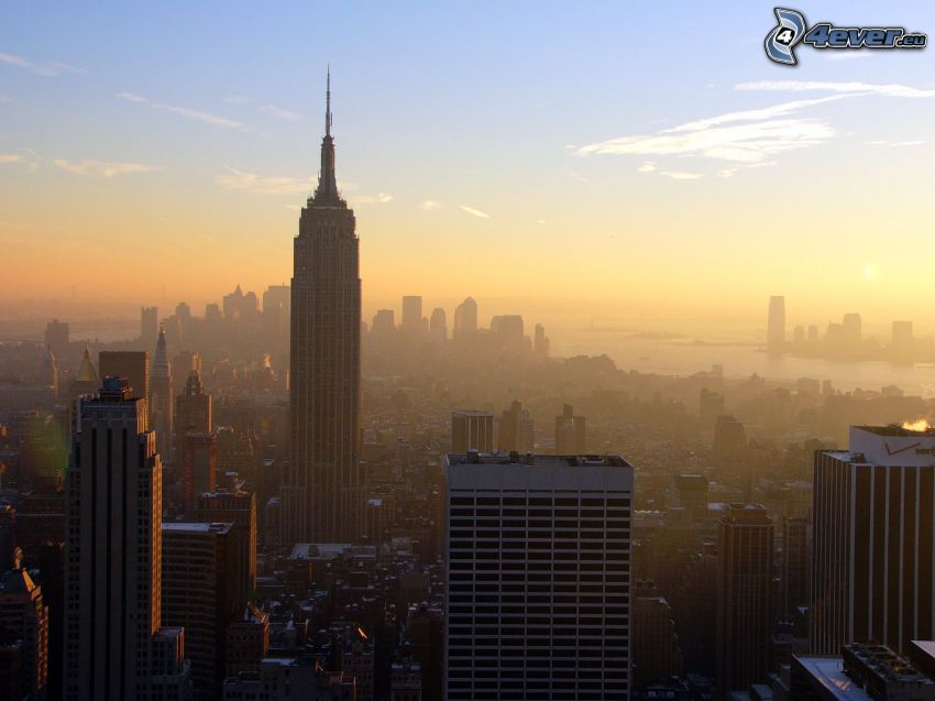 Manhattan, Empire State Building, evening city, smog