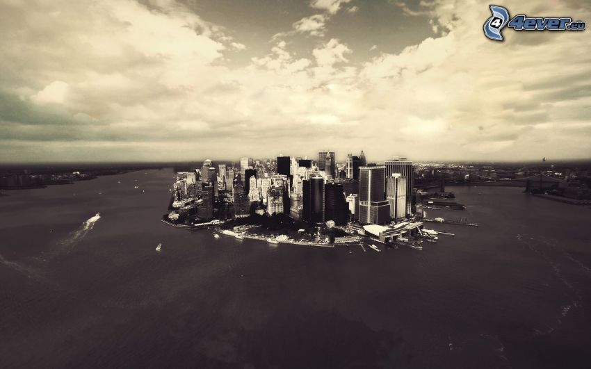 Manhattan, text, black and white