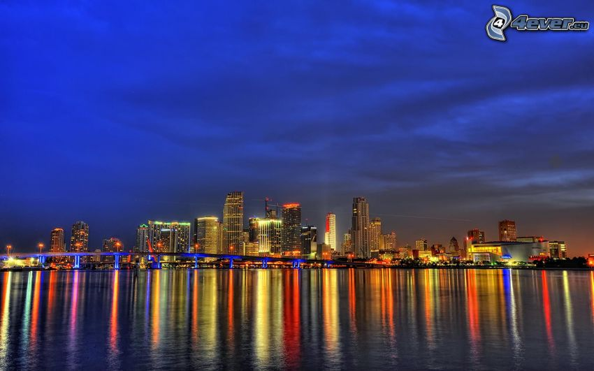 Miami, night city, skyscrapers, sea, reflection