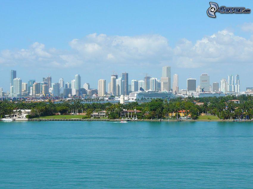 Miami, skyscrapers, sea