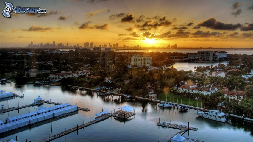 Miami, sunset over a city