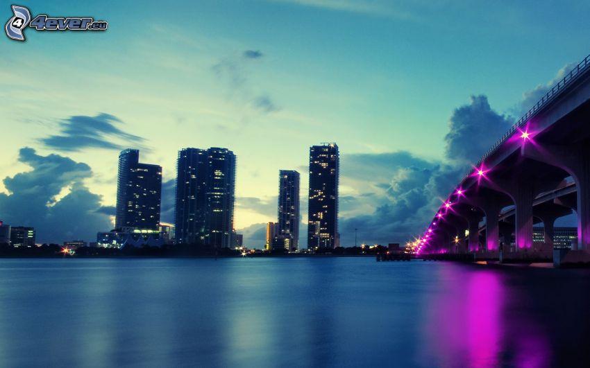 Miami Bridge, Miami, skyscrapers, evening city