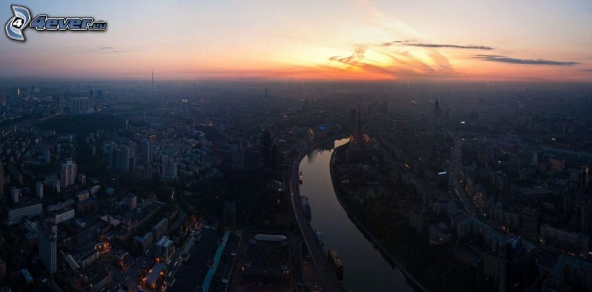 Moscow, evening city, view of the city, after sunset