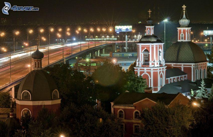 Moscow, night, church tower, street lights