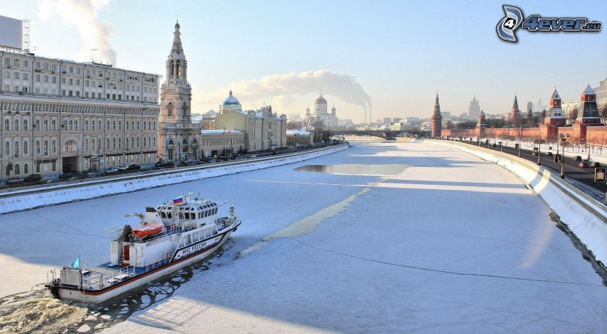 Moscow, Russia, snow, ice