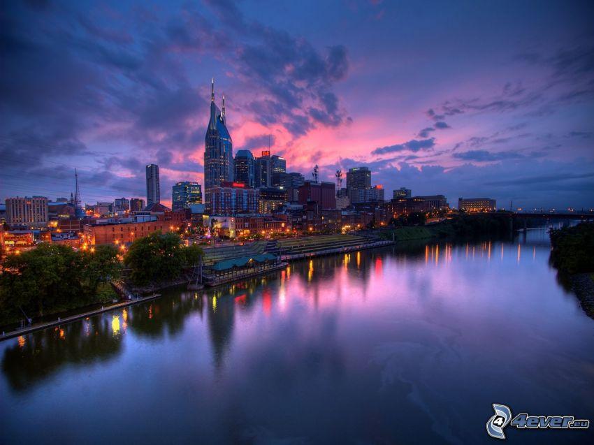 Nashville, evening city, River
