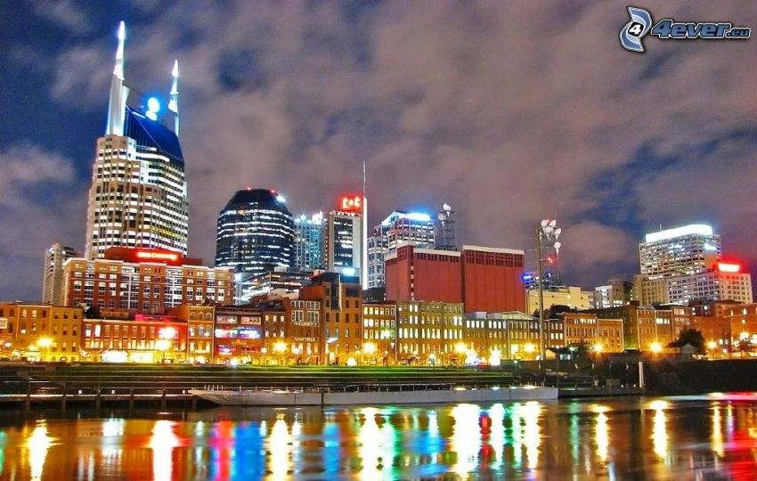 Nashville, night city, reflection