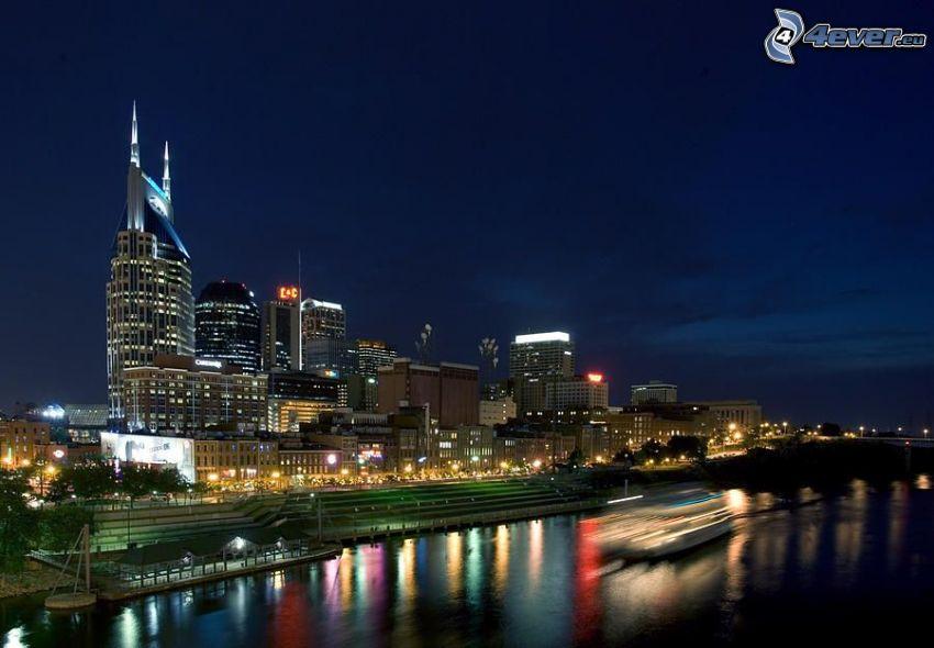 Nashville, night city, skyscrapers