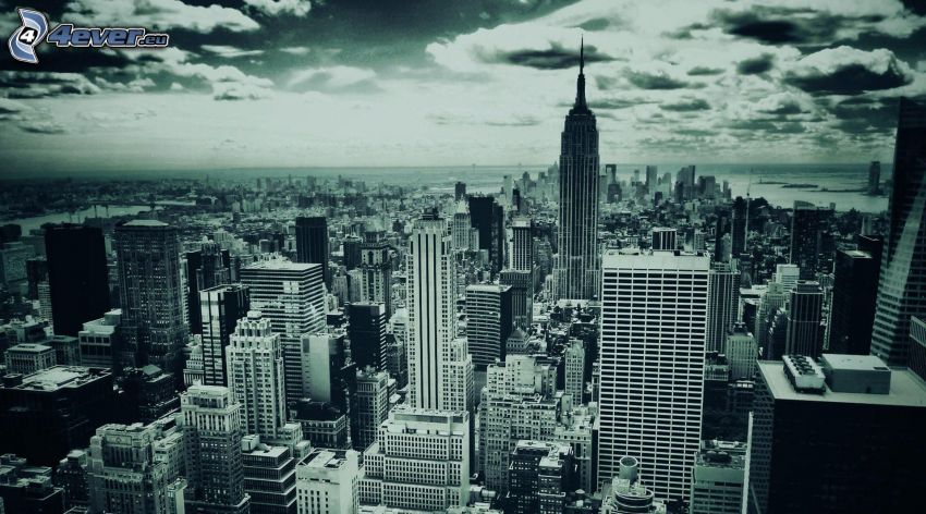 New York, buildings, black and white photo