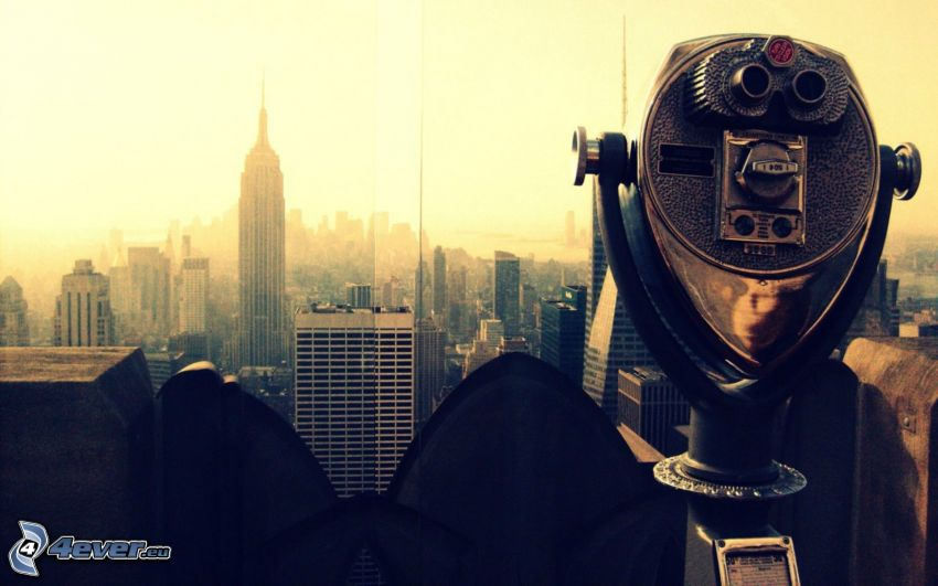 New York, Empire State Building, binoculars