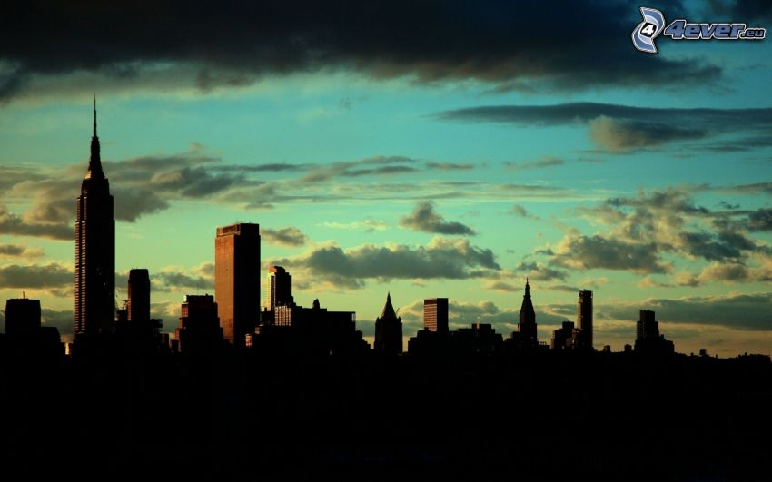 New York, Empire State Building, clouds, sky