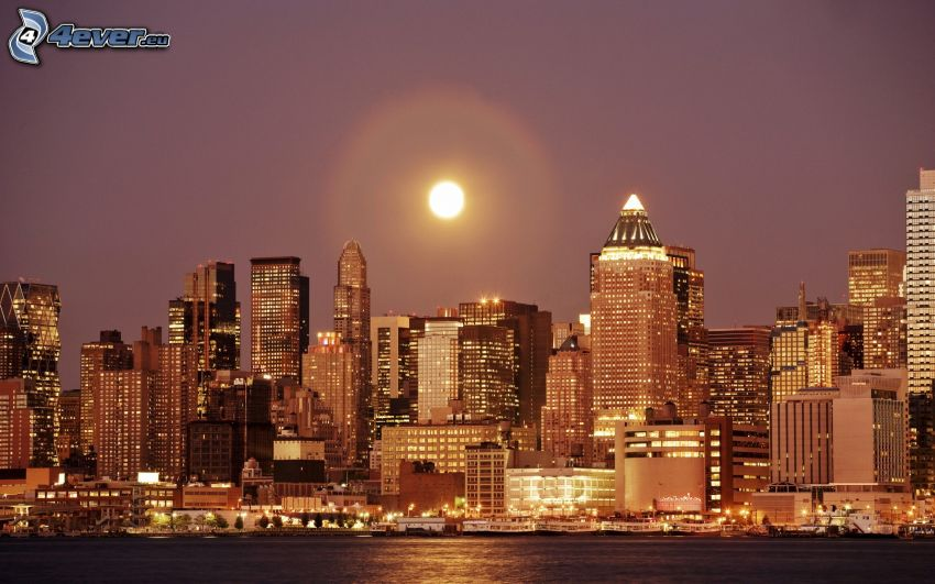 New York, skyscrapers, moon