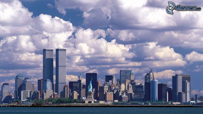 New York, Statue of Liberty, skyscrapers