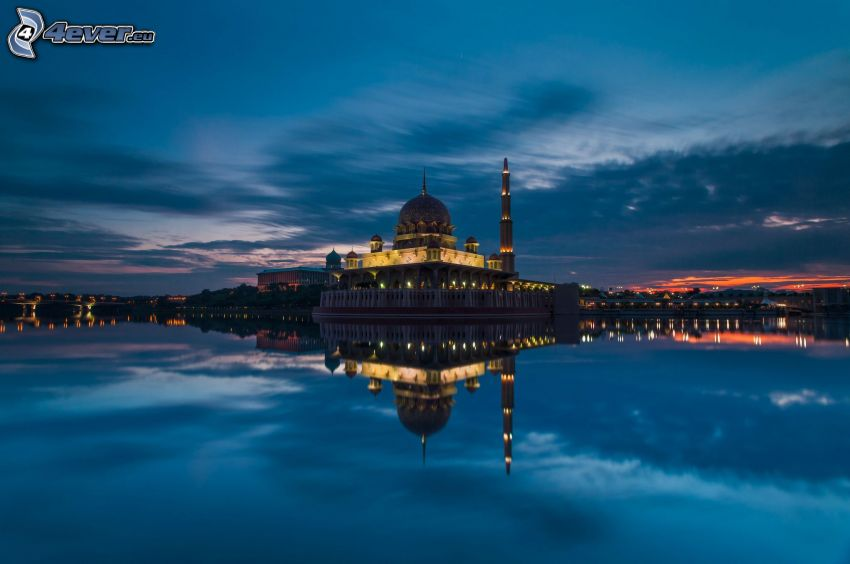New Zealand, building, evening, water, reflection, minaret