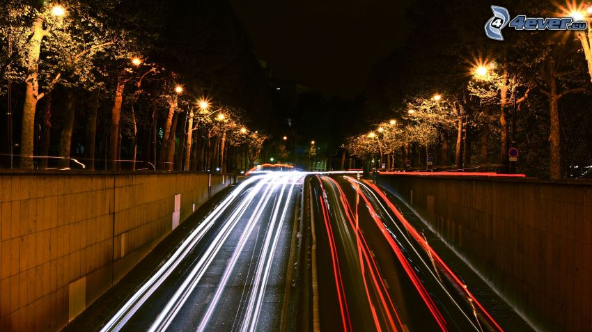 night city, night route, lights, street lights