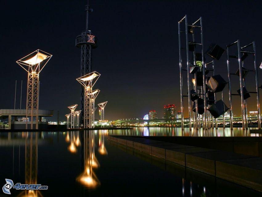 night city, River, lights