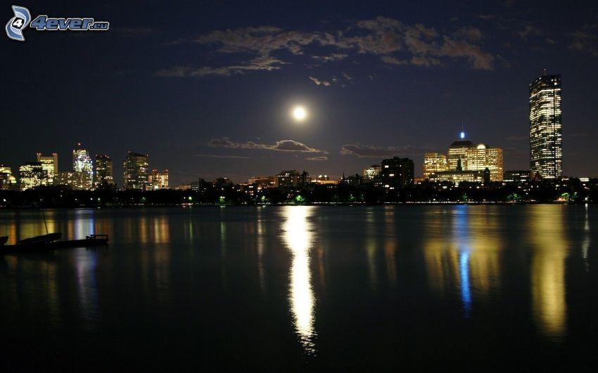 night city, sea, moon
