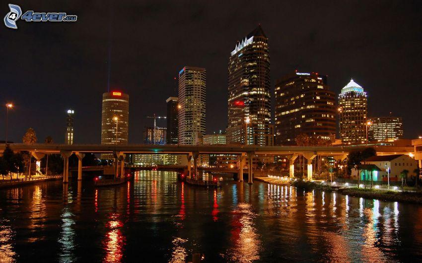 night city, skyscrapers, River, bridge