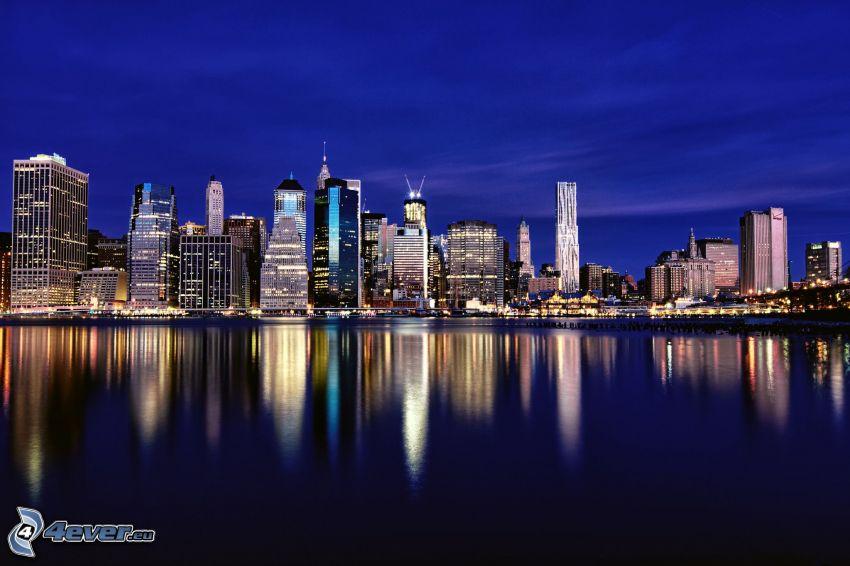 night in New York, skyscrapers