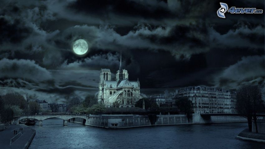 Notre Dame, Paris, Seine, night city, night, sky, clouds, moon, full moon, black and white photo