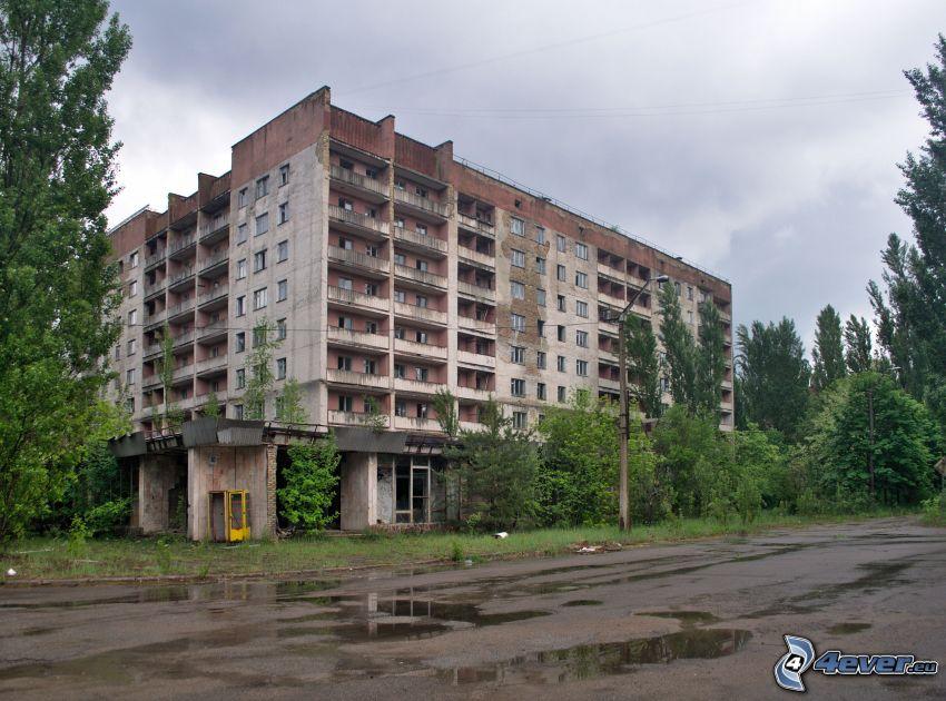 old building, block of flats, Prypiat