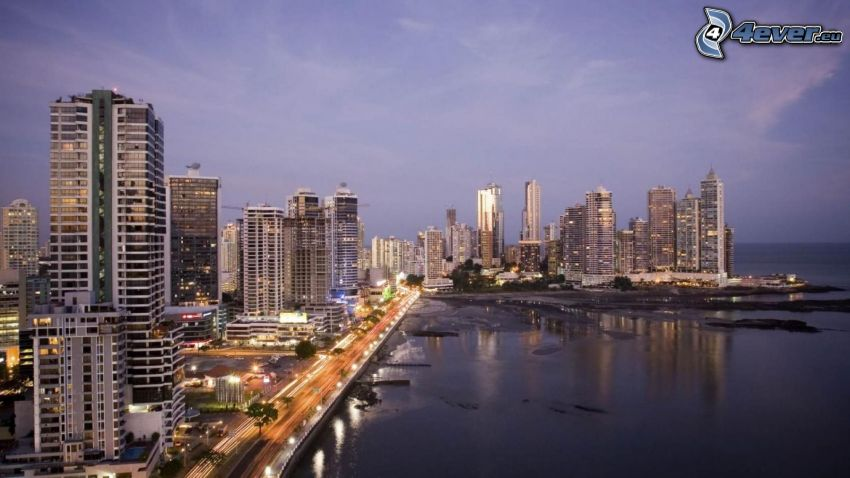 Panama, seaside town, skyscrapers