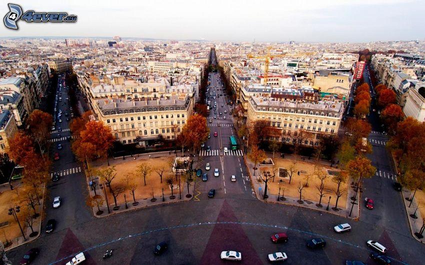 Paris, Arc de Triomphe, streets, view of the city