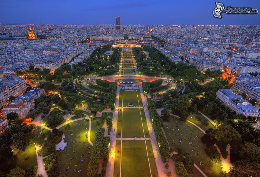 Paris, evening city, park