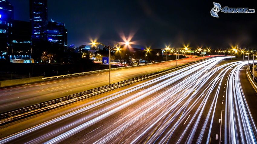 Perth, highway, lights, night city