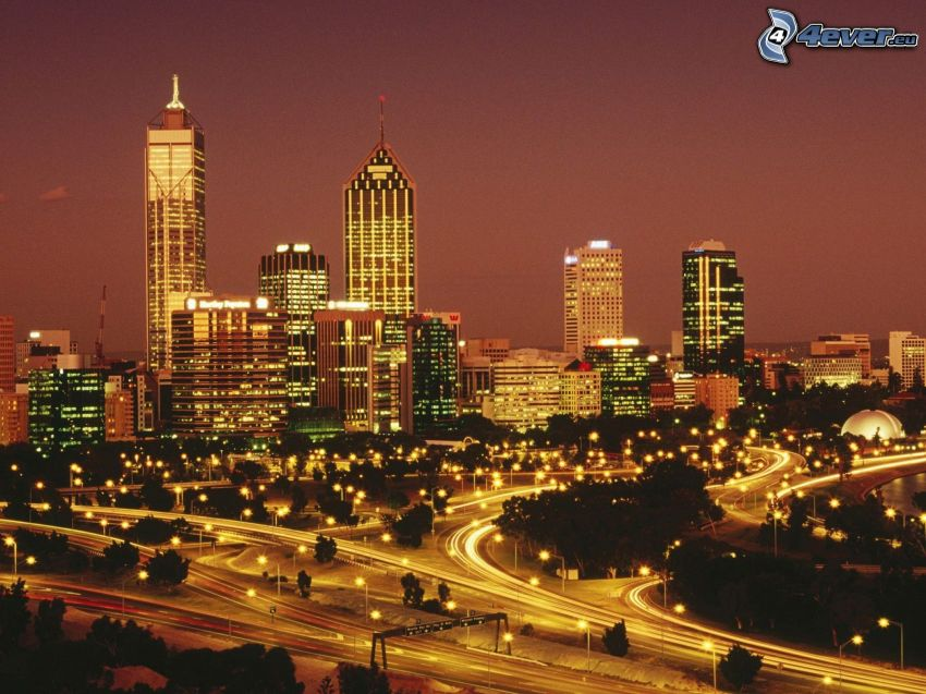 Perth, night city, skyscrapers, road