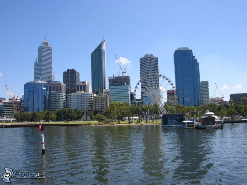 Perth, skyscrapers, ferris wheel